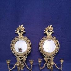 Antigüedades: PAREJA DE APLIQUES CON ESPEJOS. Lote 172085708