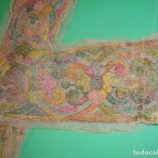 Antigüedades: ENCAJE DE TUL BORDADO DE COLORES. Lote 172103768