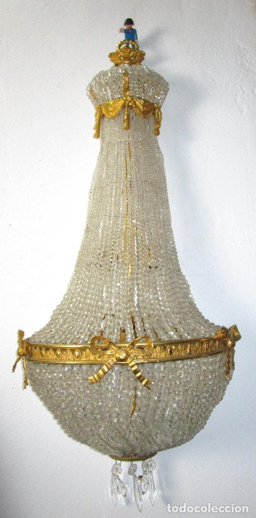 DE PALACIO! IMPRESIONANTE APLIQUE LAMPARA IMPERIO CRISTAL DE BOHEMIA BRONCE AL ORO (Antigüedades - Iluminación - Apliques Antiguos)