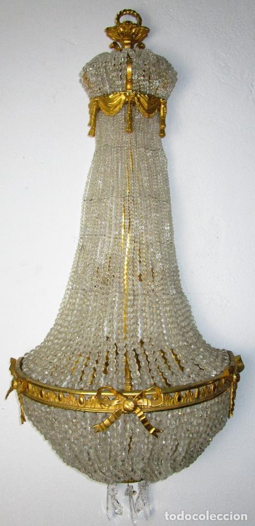 Antigüedades: DE PALACIO! IMPRESIONANTE APLIQUE LAMPARA IMPERIO CRISTAL DE BOHEMIA BRONCE AL ORO - Foto 2 - 172159967