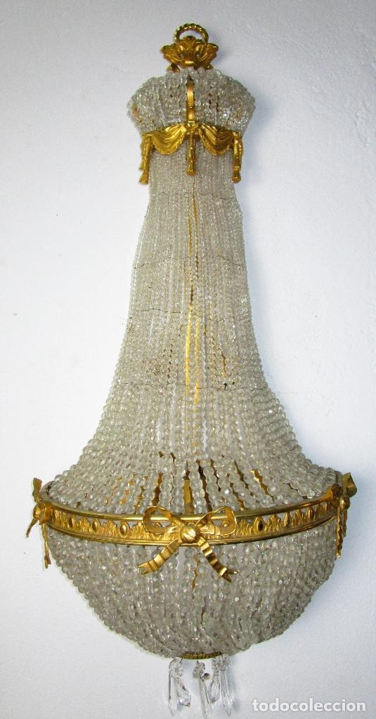 Antigüedades: DE PALACIO! IMPRESIONANTE APLIQUE LAMPARA IMPERIO CRISTAL DE BOHEMIA BRONCE AL ORO - Foto 4 - 172159967