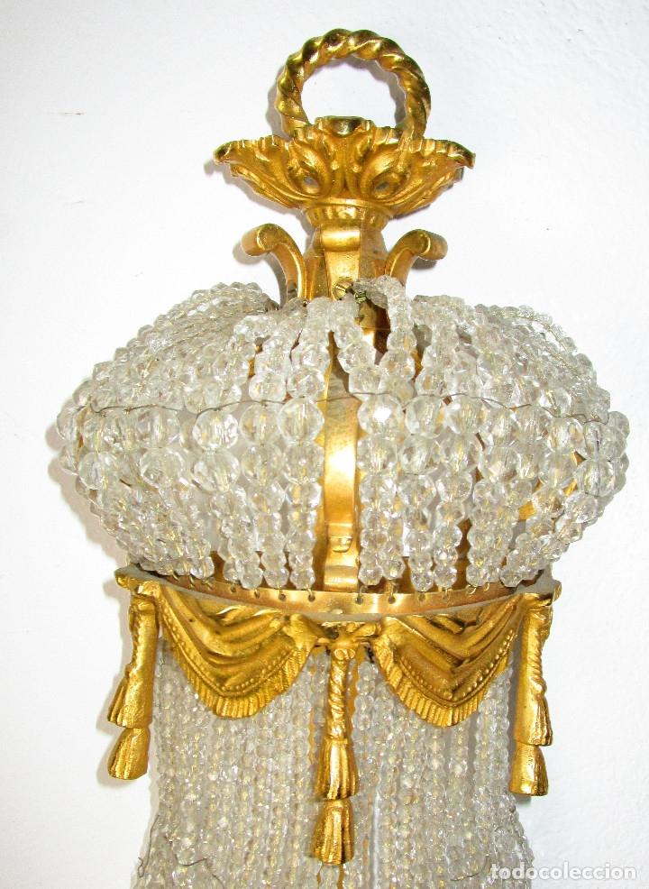 Antigüedades: DE PALACIO! IMPRESIONANTE APLIQUE LAMPARA IMPERIO CRISTAL DE BOHEMIA BRONCE AL ORO - Foto 5 - 172159967