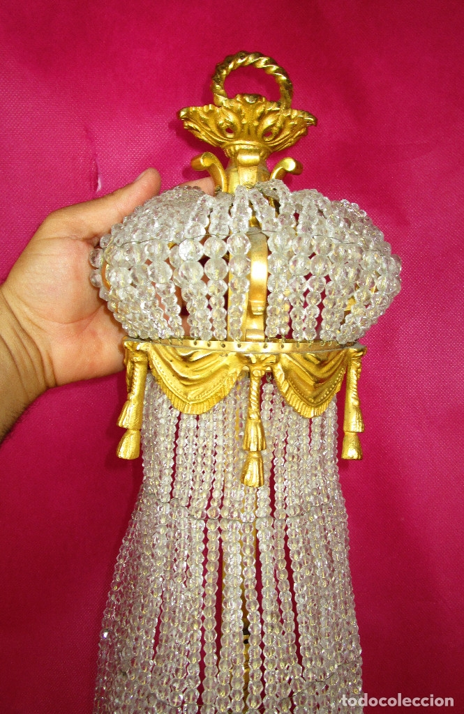 Antigüedades: DE PALACIO! IMPRESIONANTE APLIQUE LAMPARA IMPERIO CRISTAL DE BOHEMIA BRONCE AL ORO - Foto 9 - 172159967