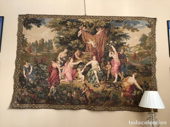 GRAN TAPIZ DE NINFAS DEL BOSQUE (Antigüedades - Hogar y Decoración - Tapices Antiguos)