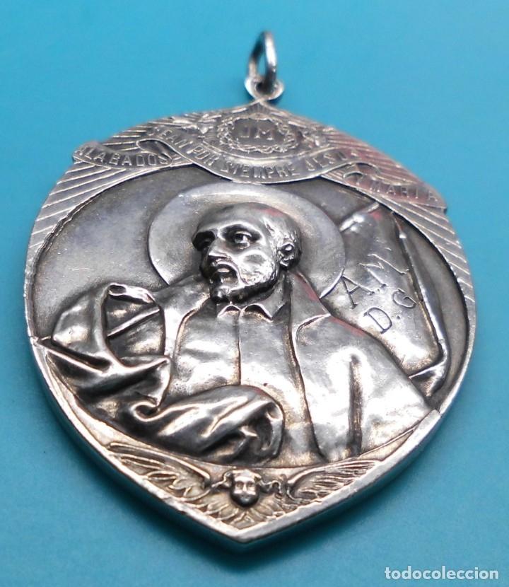 ANTIGUA MEDALLA ALABADOS SEAN JESUS Y MARIA - CONGREGA MATER-BONI CONSILII, EN ALTO RELIEVE (Antigüedades - Religiosas - Medallas Antiguas)