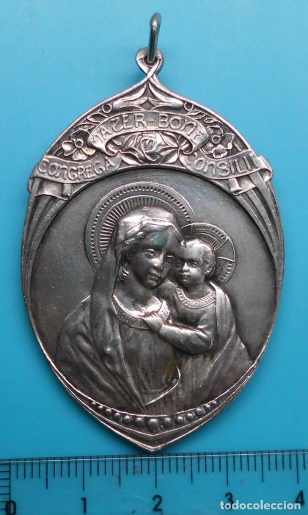 Antigüedades: ANTIGUA MEDALLA ALABADOS SEAN JESUS Y MARIA - CONGREGA MATER-BONI CONSILII, EN ALTO RELIEVE - Foto 5 - 172186475