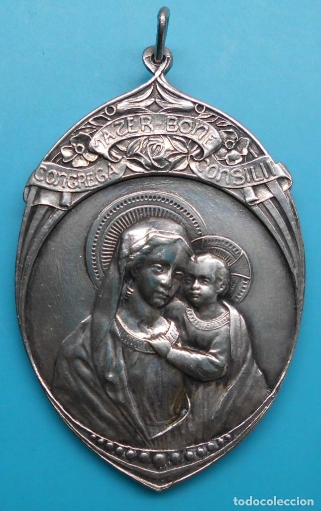 Antigüedades: ANTIGUA MEDALLA ALABADOS SEAN JESUS Y MARIA - CONGREGA MATER-BONI CONSILII, EN ALTO RELIEVE - Foto 6 - 172186475