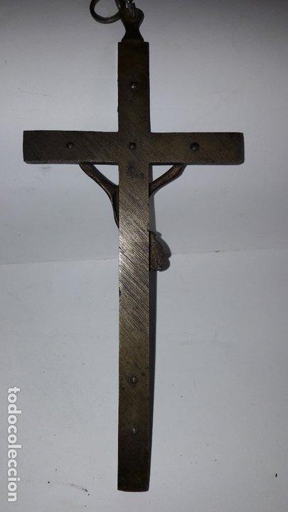 Antigüedades: Crucifijo pectoral con cristo bronce S.XIX - Foto 3 - 172190975
