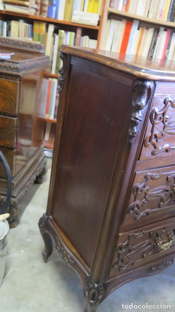 Antigüedades: ANTIGUA COMODA DE MADERA TALLADA. NOGAL Y ROBLE. AÑOS 30 - Foto 11 - 172214407