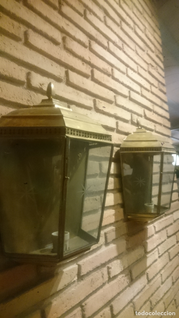 Antigüedades: PAREJA APLIQUES DE LATÓN ELECTRIFICADOS - Foto 8 - 172215395