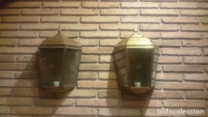 PAREJA APLIQUES DE LATÓN ELECTRIFICADOS (Antigüedades - Iluminación - Apliques Antiguos)