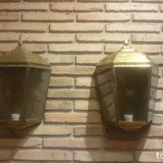 Antigüedades: PAREJA APLIQUES DE LATÓN ELECTRIFICADOS. Lote 172215395