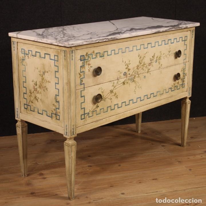 Antigüedades: Cómoda italiana de estilo Luis XVI en madera lacada y pintada - Foto 4 - 172223524