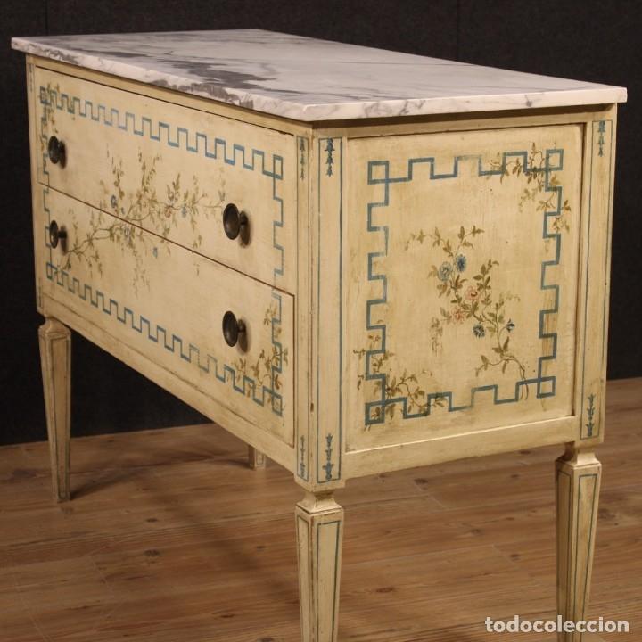 Antigüedades: Cómoda italiana de estilo Luis XVI en madera lacada y pintada - Foto 8 - 172223524