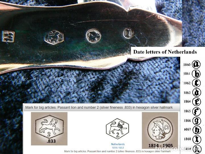 Antigüedades: juego de seis cucharas+1cuchara para azucar de plata Holanda 1868 - Foto 2 - 172239474
