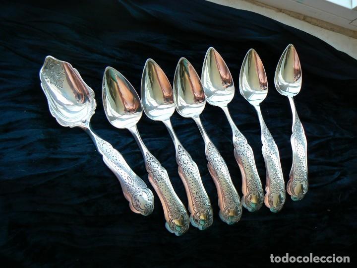 Antigüedades: juego de seis cucharas+1cuchara para azucar de plata Holanda 1868 - Foto 16 - 172239474