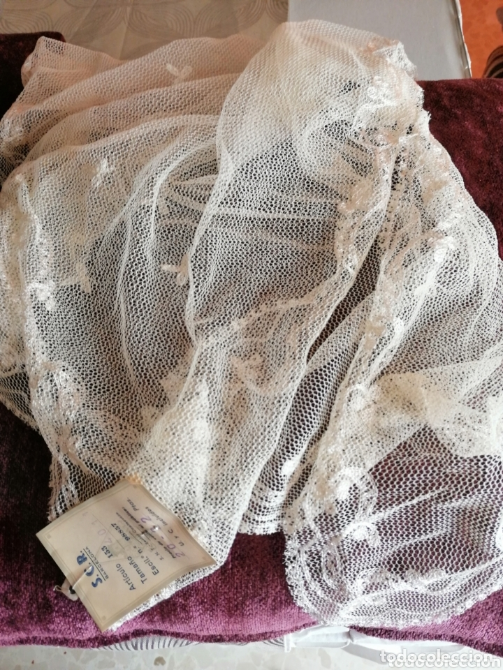 Antigüedades: Mantilla o pollita antigua con etiqueta - Foto 6 - 172293513