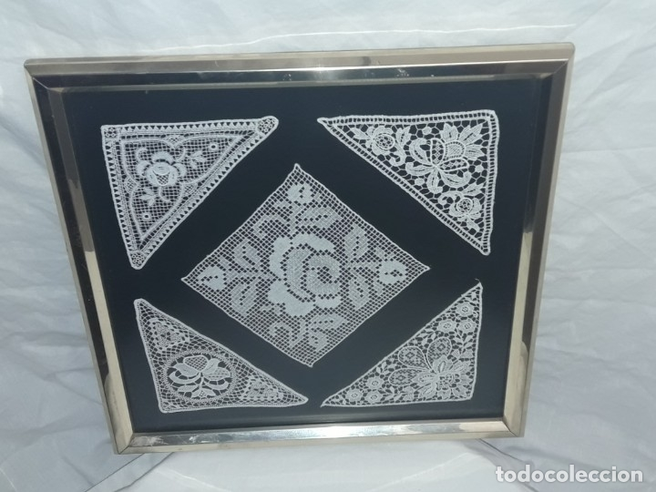 Antigüedades: Bello cuadro encaje de bolillos enmarcado 31x31cm - Foto 9 - 172296750
