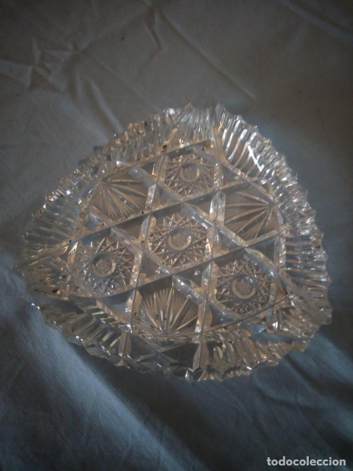 Antigüedades: Precioso cenicero de cristal de bohemia tallado y soplado,estrellas, república checa - Foto 3 - 172378954