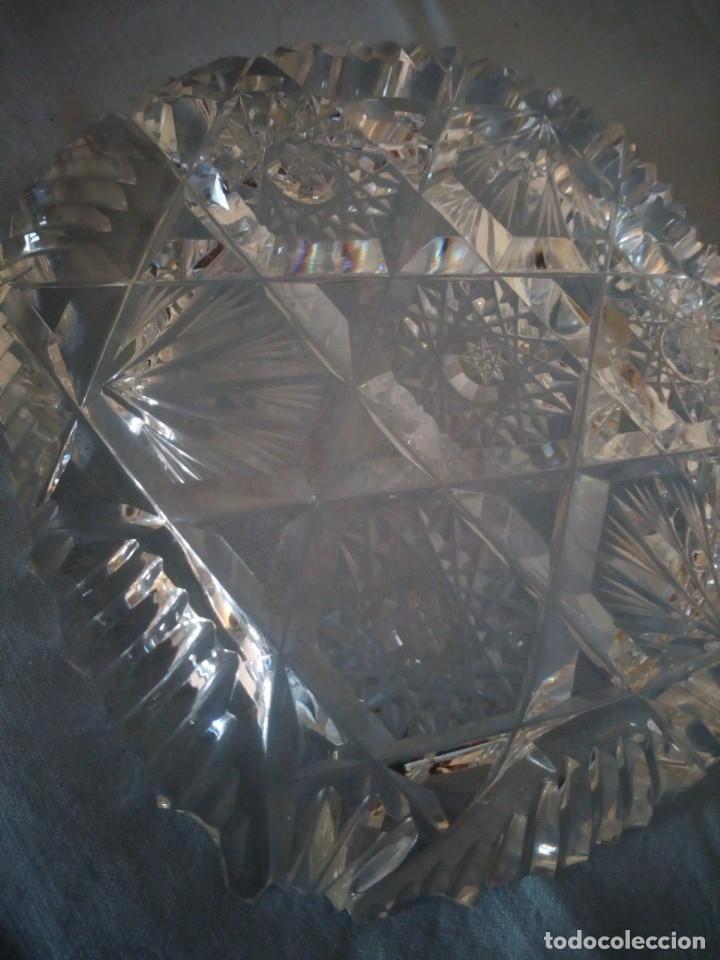 Antigüedades: Precioso cenicero de cristal de bohemia tallado y soplado,estrellas, república checa - Foto 4 - 172378954