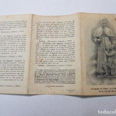 Antigüedades: TRÍPTICO DE NOVENA PADRE DAMIÁN CON RELIQUIA . Lote 172399769