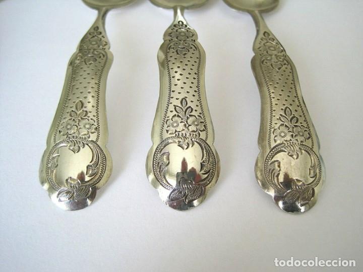 Antigüedades: juego de seis cucharas+1cuchara para azucar de plata Holanda 1868 - Foto 6 - 172239474