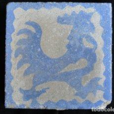 Antigüedades: BONITO AZULEJO BALDOSA RAJOLA DECORADA - GALLO -.. Lote 172410762
