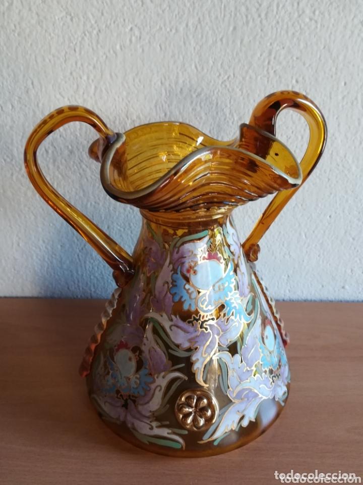 Antigüedades: Antiguo jarrón firmado Cirera cristal soplado pintado a mano - Vidrio catalán - Foto 2 - 172412853