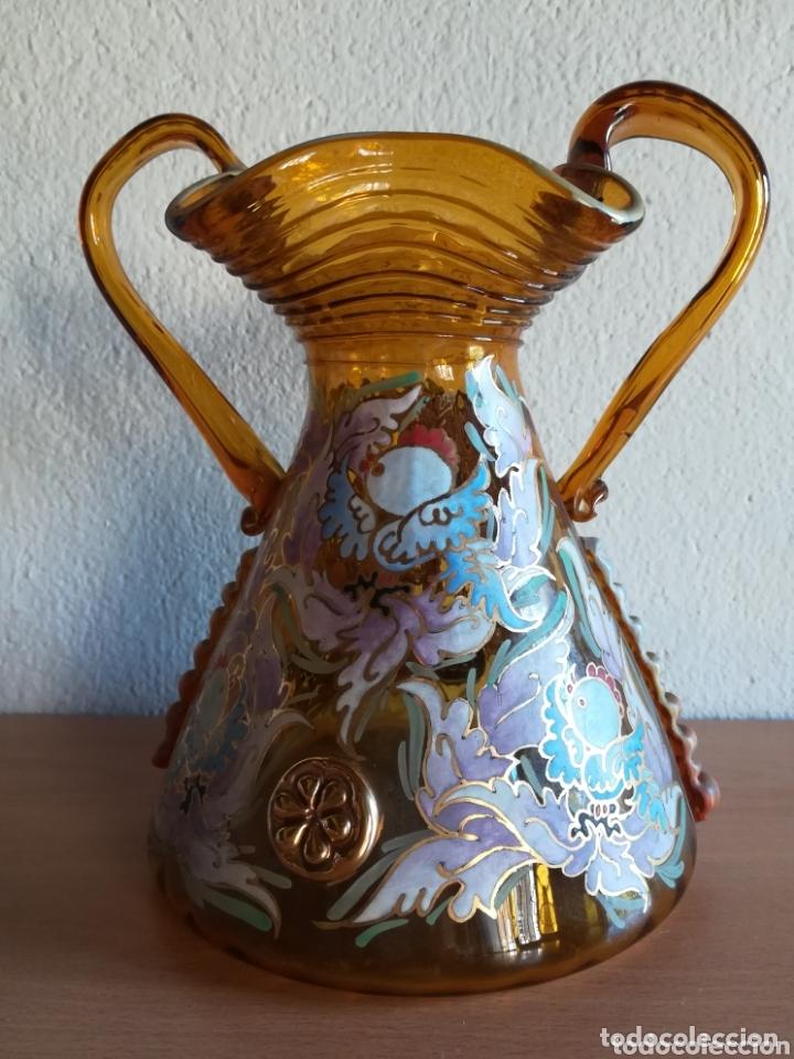 Antigüedades: Antiguo jarrón firmado Cirera cristal soplado pintado a mano - Vidrio catalán - Foto 3 - 172412853