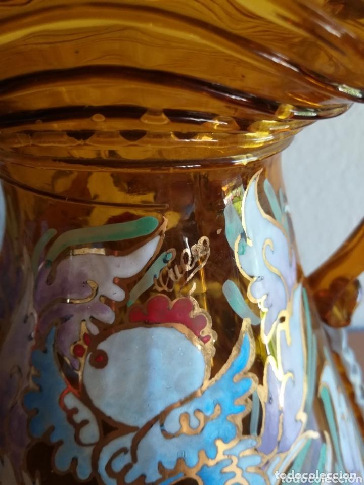 Antigüedades: Antiguo jarrón firmado Cirera cristal soplado pintado a mano - Vidrio catalán - Foto 4 - 172412853