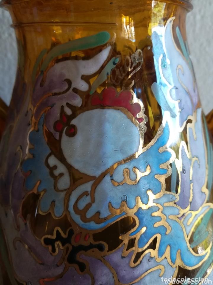 Antigüedades: Antiguo jarrón firmado Cirera cristal soplado pintado a mano - Vidrio catalán - Foto 6 - 172412853