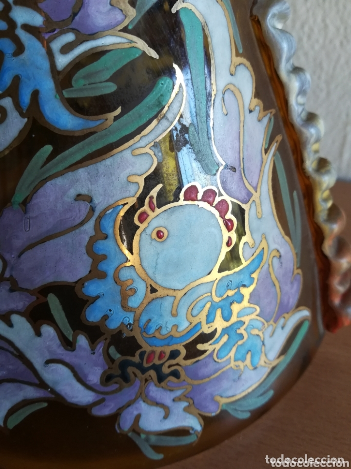 Antigüedades: Antiguo jarrón firmado Cirera cristal soplado pintado a mano - Vidrio catalán - Foto 7 - 172412853