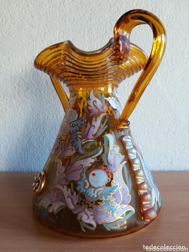 Antigüedades: Antiguo jarrón firmado Cirera cristal soplado pintado a mano - Vidrio catalán - Foto 8 - 172412853