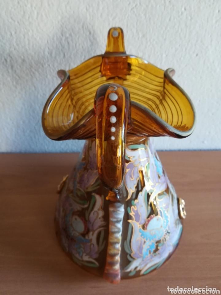Antigüedades: Antiguo jarrón firmado Cirera cristal soplado pintado a mano - Vidrio catalán - Foto 11 - 172412853