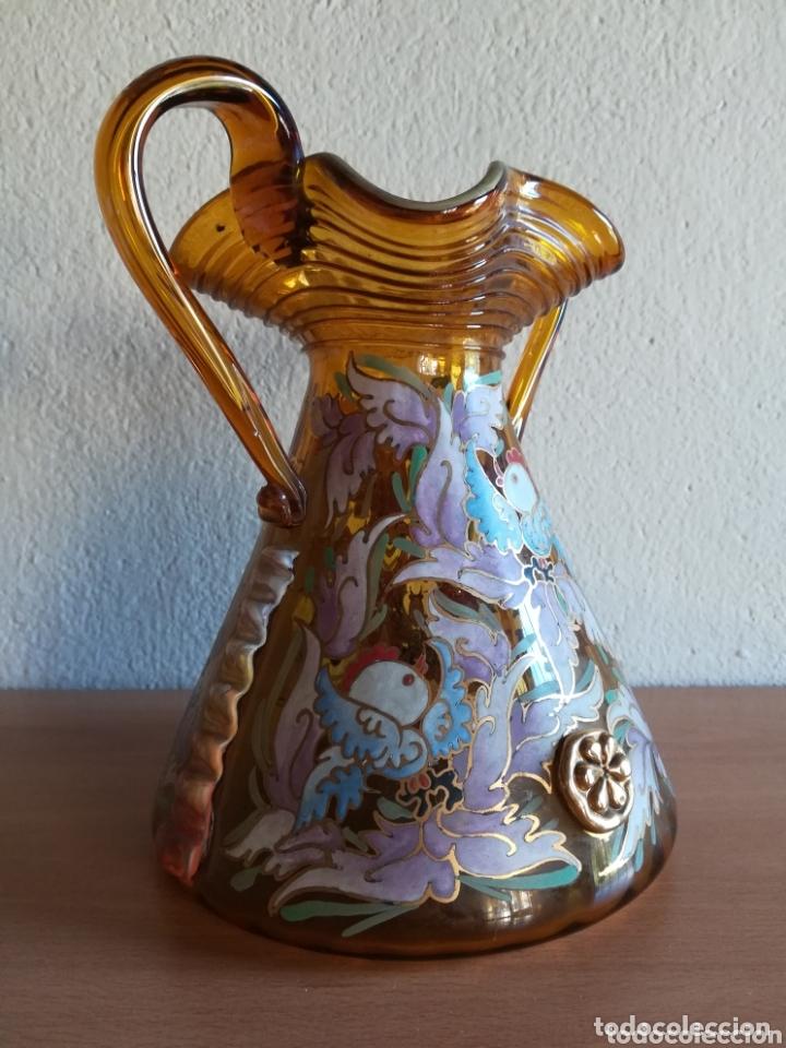 Antigüedades: Antiguo jarrón firmado Cirera cristal soplado pintado a mano - Vidrio catalán - Foto 12 - 172412853