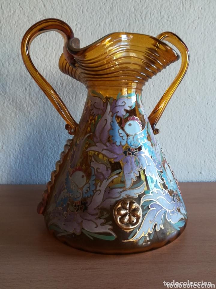 Antigüedades: Antiguo jarrón firmado Cirera cristal soplado pintado a mano - Vidrio catalán - Foto 13 - 172412853