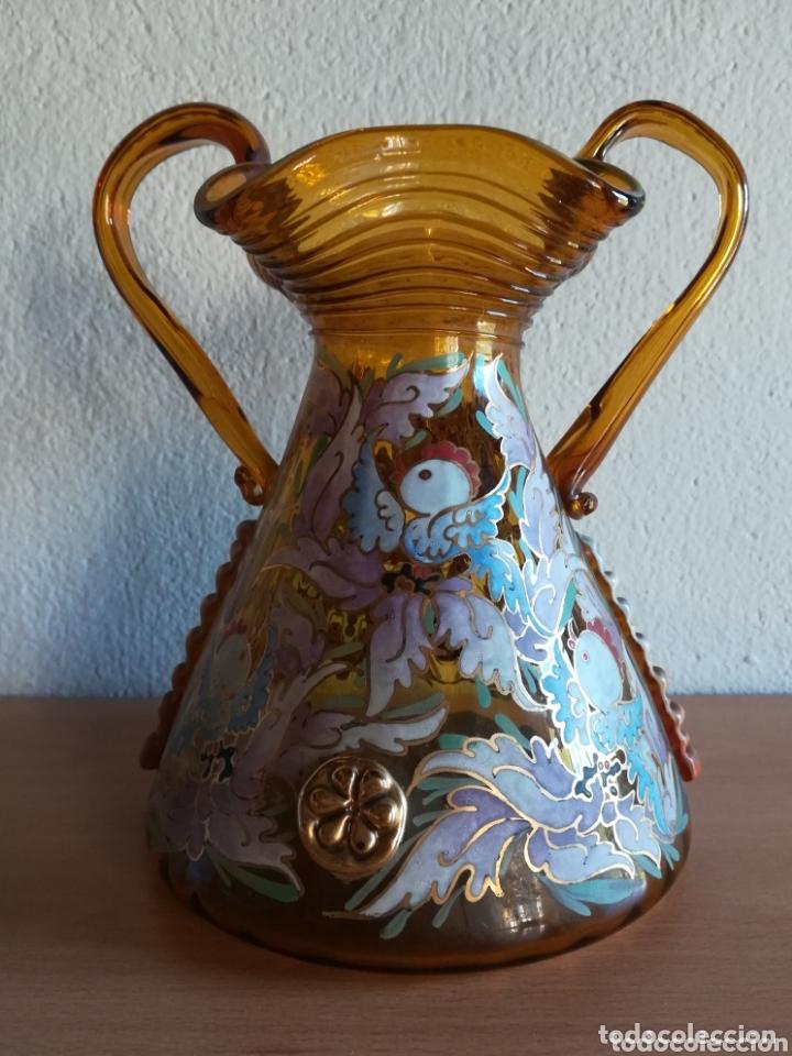 Antigüedades: Antiguo jarrón firmado Cirera cristal soplado pintado a mano - Vidrio catalán - Foto 14 - 172412853