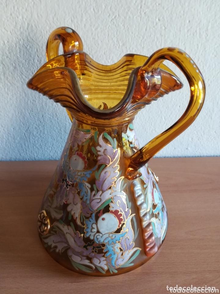 Antigüedades: Antiguo jarrón firmado Cirera cristal soplado pintado a mano - Vidrio catalán - Foto 15 - 172412853