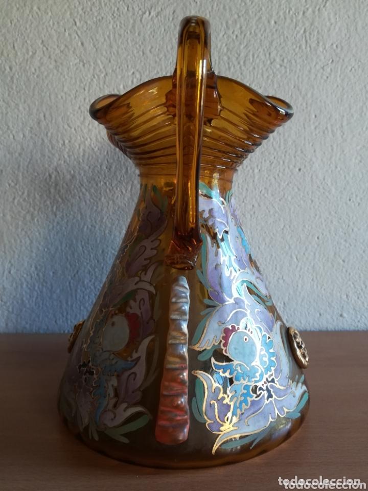 Antigüedades: Antiguo jarrón firmado Cirera cristal soplado pintado a mano - Vidrio catalán - Foto 17 - 172412853