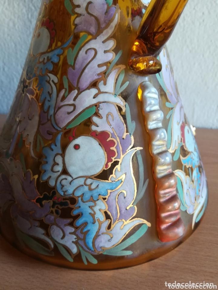 Antigüedades: Antiguo jarrón firmado Cirera cristal soplado pintado a mano - Vidrio catalán - Foto 18 - 172412853