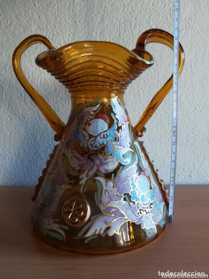 Antigüedades: Antiguo jarrón firmado Cirera cristal soplado pintado a mano - Vidrio catalán - Foto 24 - 172412853