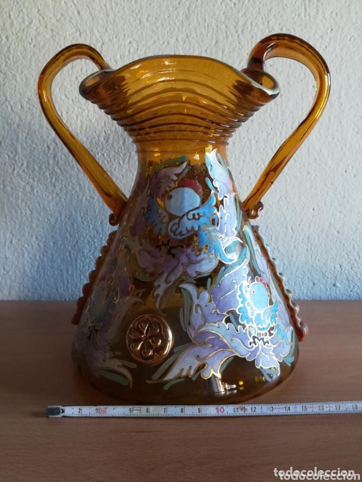 Antigüedades: Antiguo jarrón firmado Cirera cristal soplado pintado a mano - Vidrio catalán - Foto 25 - 172412853