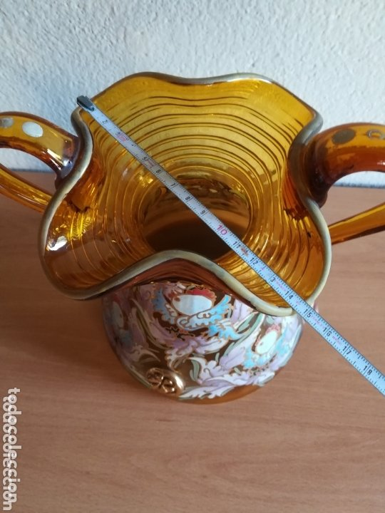 Antigüedades: Antiguo jarrón firmado Cirera cristal soplado pintado a mano - Vidrio catalán - Foto 26 - 172412853