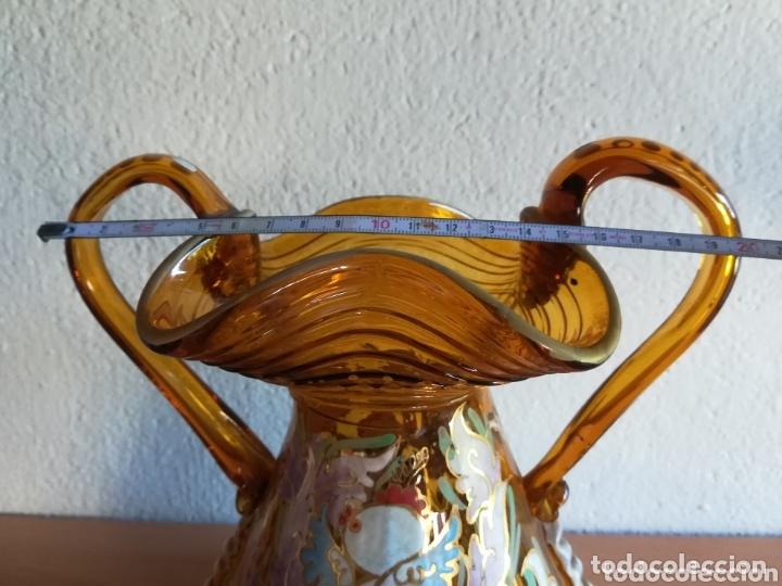 Antigüedades: Antiguo jarrón firmado Cirera cristal soplado pintado a mano - Vidrio catalán - Foto 27 - 172412853
