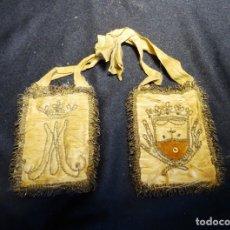 Antigüedades: ESCAPULARIO SIGLO XIX, ORDEN DEL CARMELO Y ANAGRAMA DE MARIA, CARMELITAS. Lote 179216523