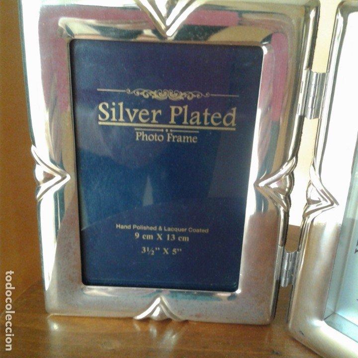 Antigüedades: Díptico en plata, con portafotos y reloj quartz - Foto 3 - 172430469