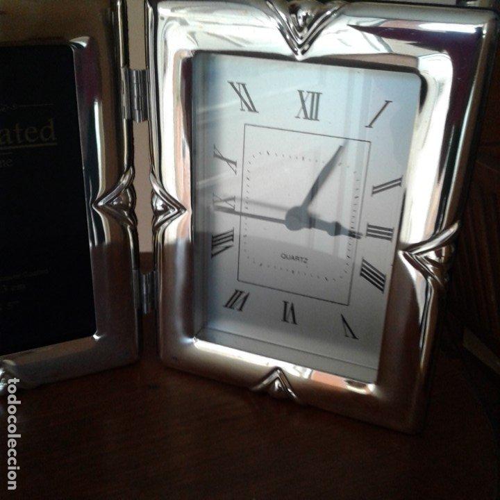 Antigüedades: Díptico en plata, con portafotos y reloj quartz - Foto 4 - 172430469