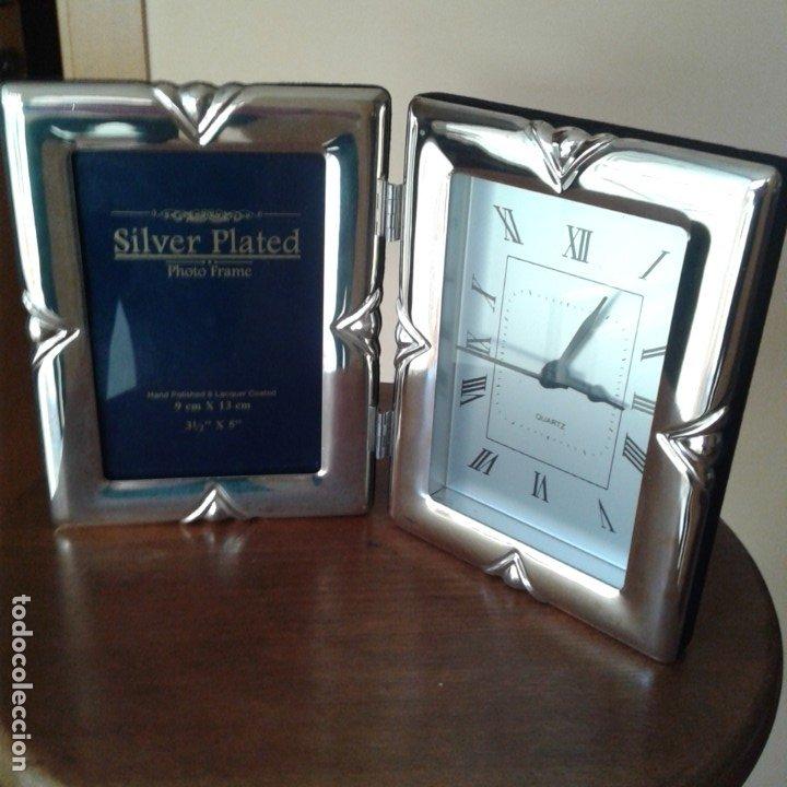 Antigüedades: Díptico en plata, con portafotos y reloj quartz - Foto 5 - 172430469