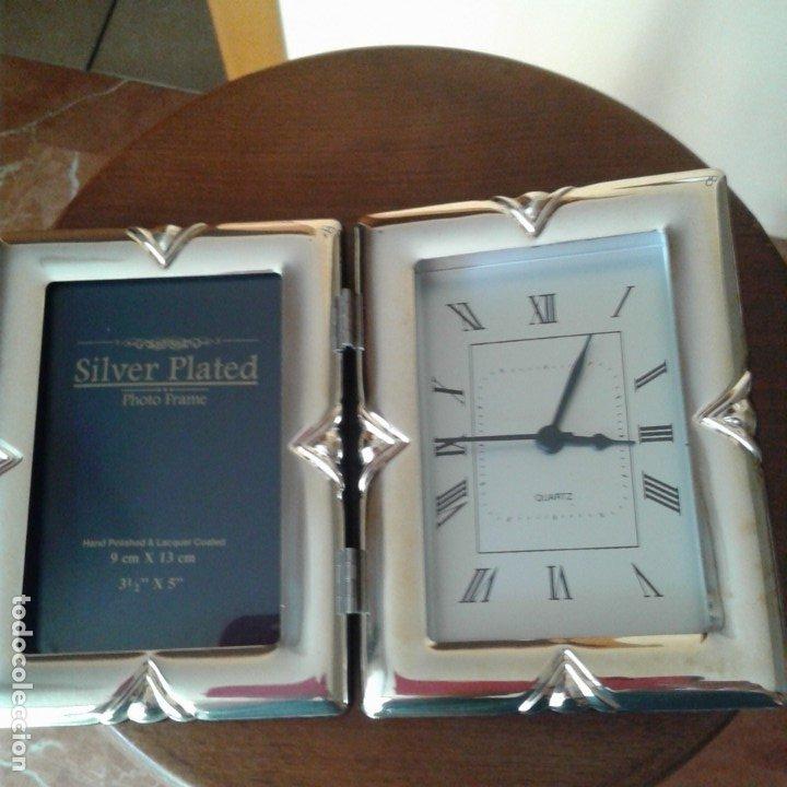 Antigüedades: Díptico en plata, con portafotos y reloj quartz - Foto 10 - 172430469