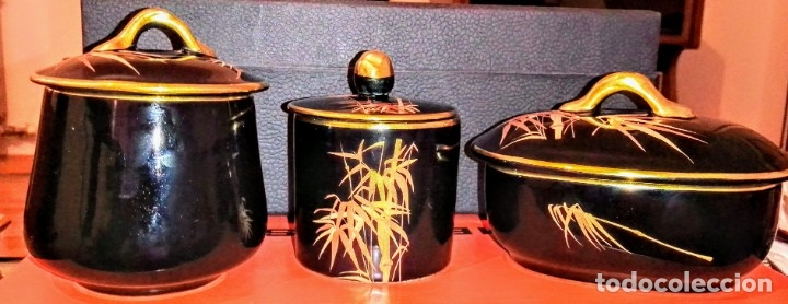 Antigüedades: Conjunto tres piezas negro y dorado. - Foto 2 - 172431349
